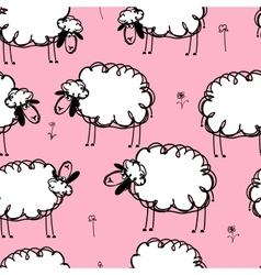 Funny sheeps on meadow seamless pattern for your vector image
