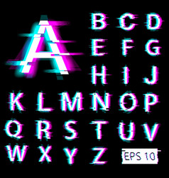 Glitch english alphabet distorted letters vector