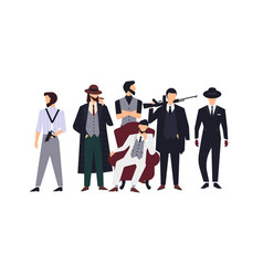 group of mafia members or mafiosi dressed in vector image