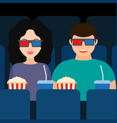guy and a girl at the cinema in 3d glasses with vector image