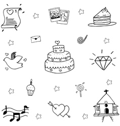 Hand draw wedding in doodle vector