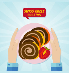 hand giving swiss rolls sweet food concept vector image