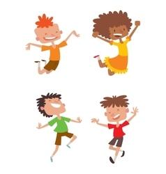 Happy children in different positions set vector