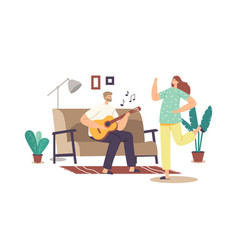 Happy family couple home party concept man vector