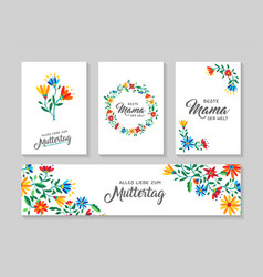 Happy mother day german flower art card set vector