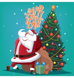 Happy New Year red Father Christmas with spruce vector