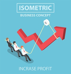 isometric business people pulling up arrow graph vector image