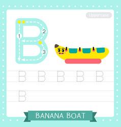 Letter b uppercase tracing practice worksheet vector