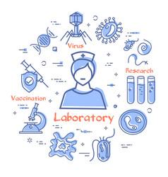 line concept analysis laboratory woman vector image