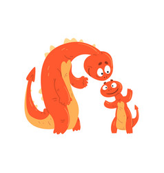 Loving mother dragon and her baby cute funny vector