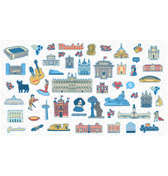 madrid inspired landmarks and symbols set vector image
