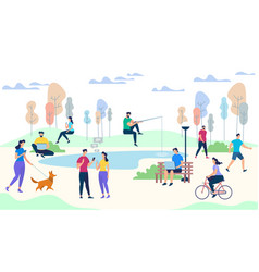 male and female characters life on park background vector image
