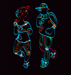 Man and woman jogging vector