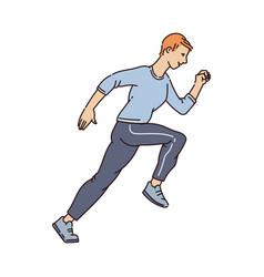 man running marathon cartoon character vector image