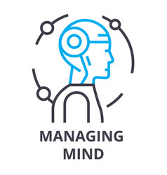 Managing mind thin line icon sign symbol vector