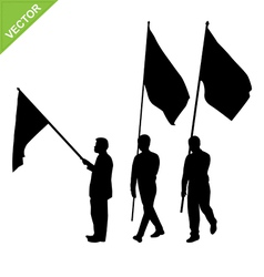 Men holding flag silhouettes vector image