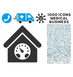 Meter building icon with 1000 medical business vector