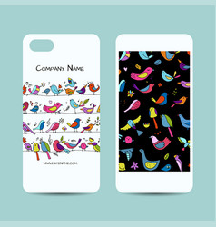 Mobile phone cover design funny birds background vector