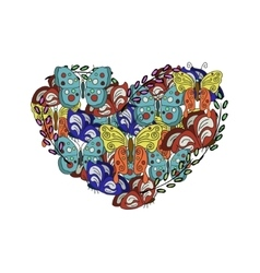 modern Butterflies in the form of heart on vector image