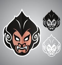 Monkey head thai logo emblem vector