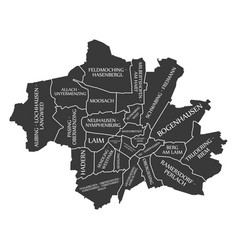 Munich city map germany de labelled black vector