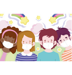 new normal boys and girls with masks prevention vector image