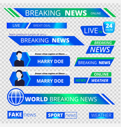 news graphic banners breaking television vector image