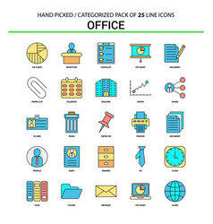 office flat line icon set - business concept vector image