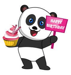 panda with cake on white background vector image