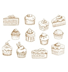 Pastry and sweet desserts sketches vector image