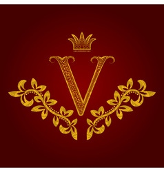 Patterned golden letter V monogram in vintage vector image