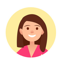 portrait of brunette joyful woman close-up icon vector image