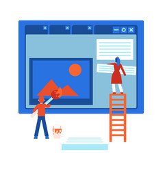 process of web site design development - isolated vector image