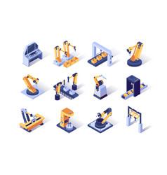 robotization industry isometric icons set vector image