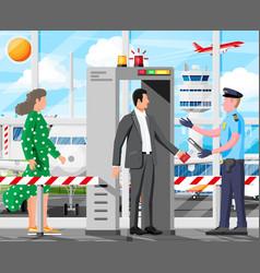 scanner gate man and police officer vector image