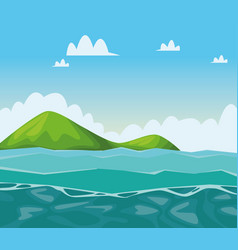 Sea and mountains scenery cartoons vector