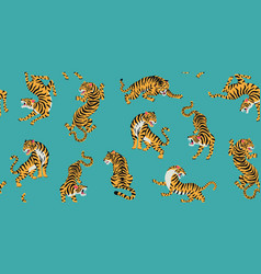 Seamless pattern with cute tigers vector
