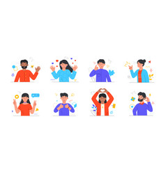 set happy male and female characters express vector image