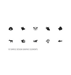 set of 10 editable zoo icons includes symbols vector image