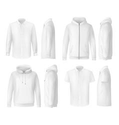 Shirt polo and hoodie menswear clothing mockups vector