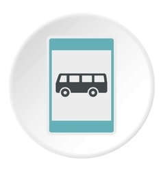 Sign bus stop icon flat style vector image