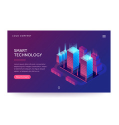 Smart technology web banner with vector