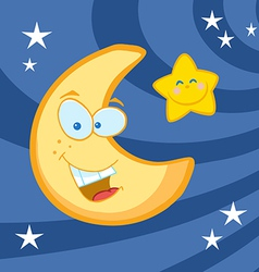 Smiling Moon And Star Cartoon Characters vector image