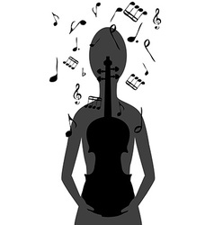 Stylized woman with violin and musical notes vector image
