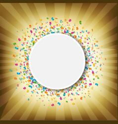 sunburst banner with confetti vector image