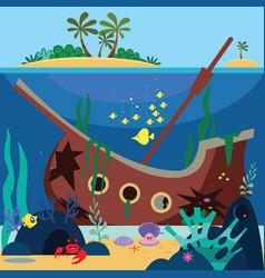 Sunk ship cartoon vector