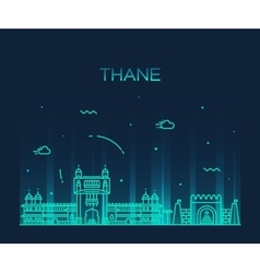 Thane skyline silhouette linear style vector