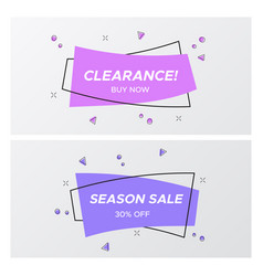 trendy violet flat sale tags in rectangle shape vector image