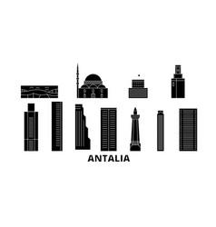 Turkey antalia flat travel skyline set vector