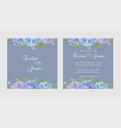 two wedding invitation cards seasonal flowerset vector image